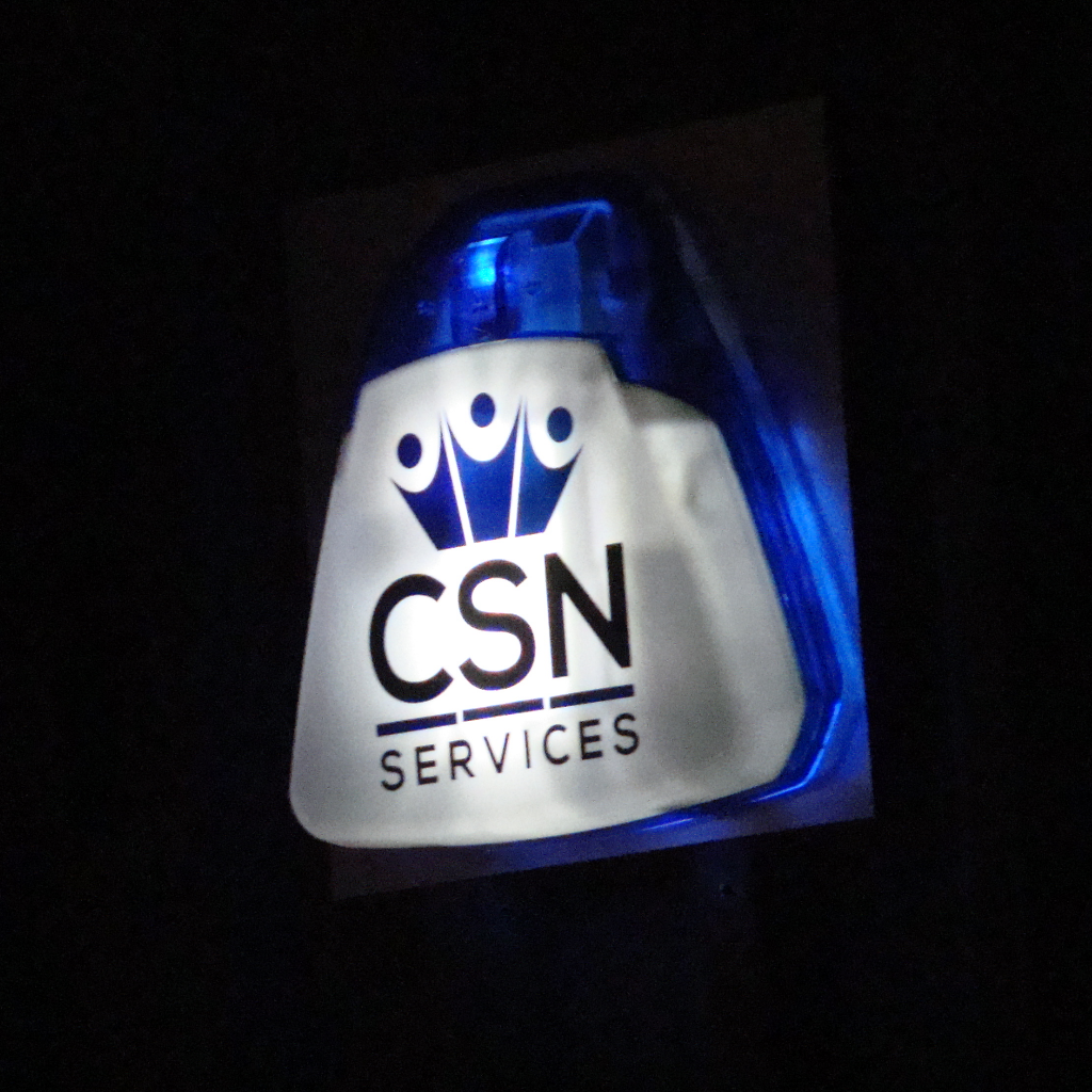 CSN Services burglar alarm bell box at night