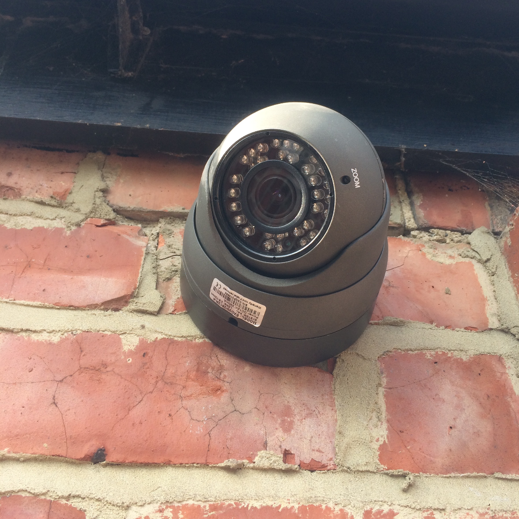 CCTV dome camera installed