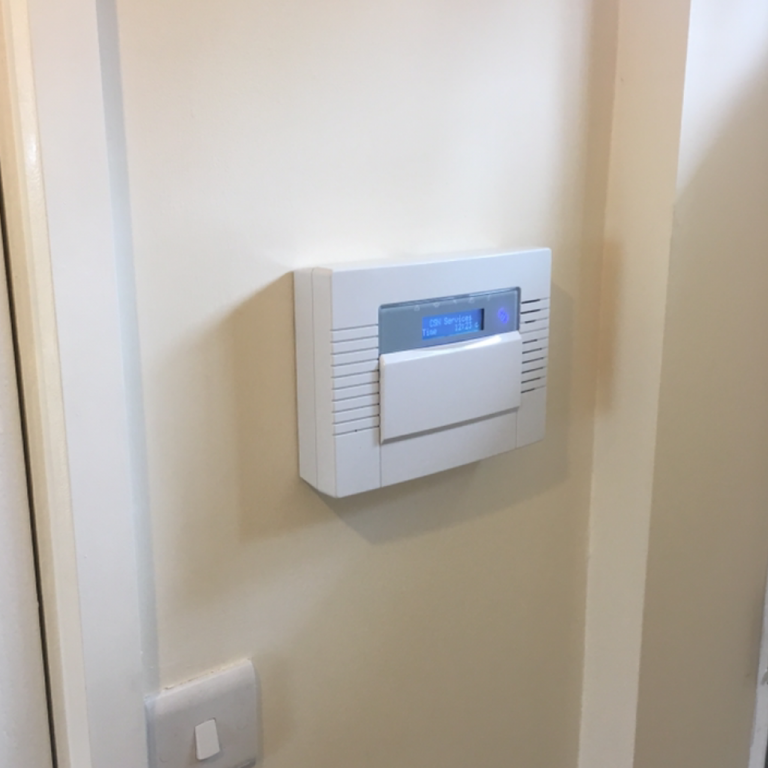 Burglar alarm control panel installed